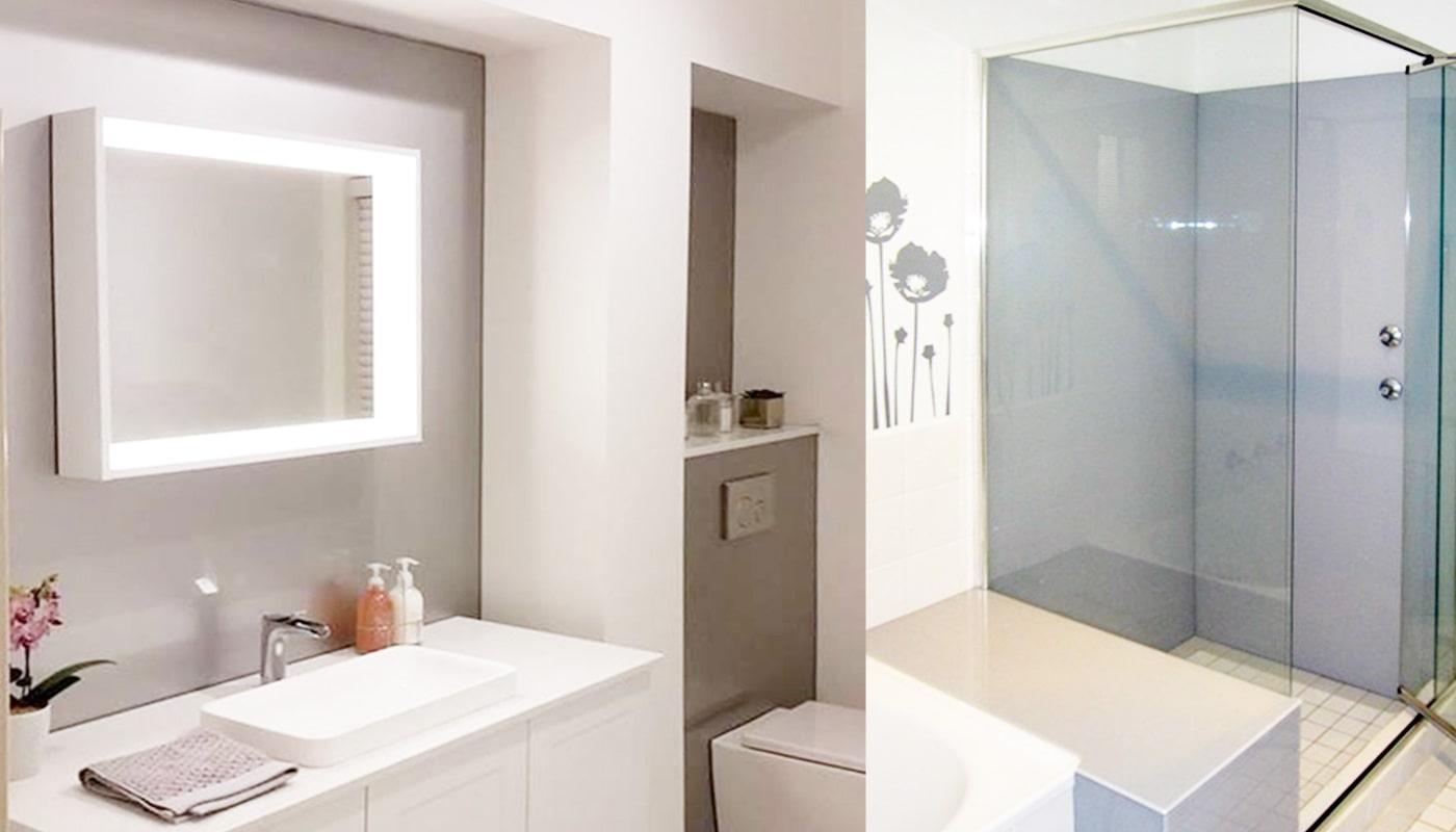 shower and bathroom splashback in endless dusk